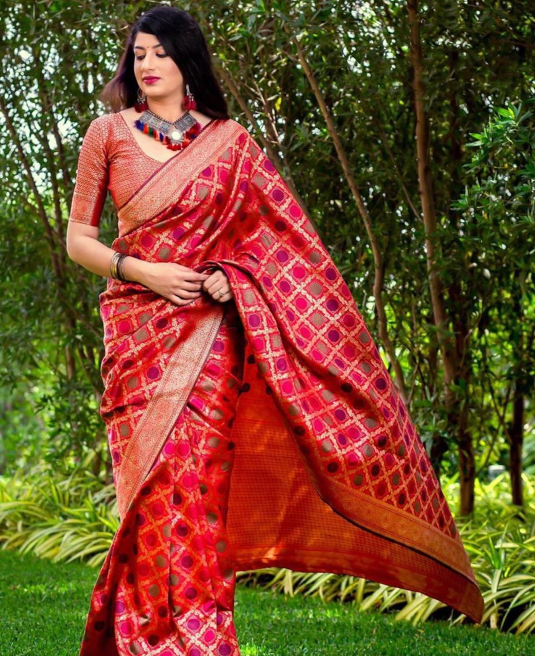 Printed Banarasi Silk Saree (Sari) Red