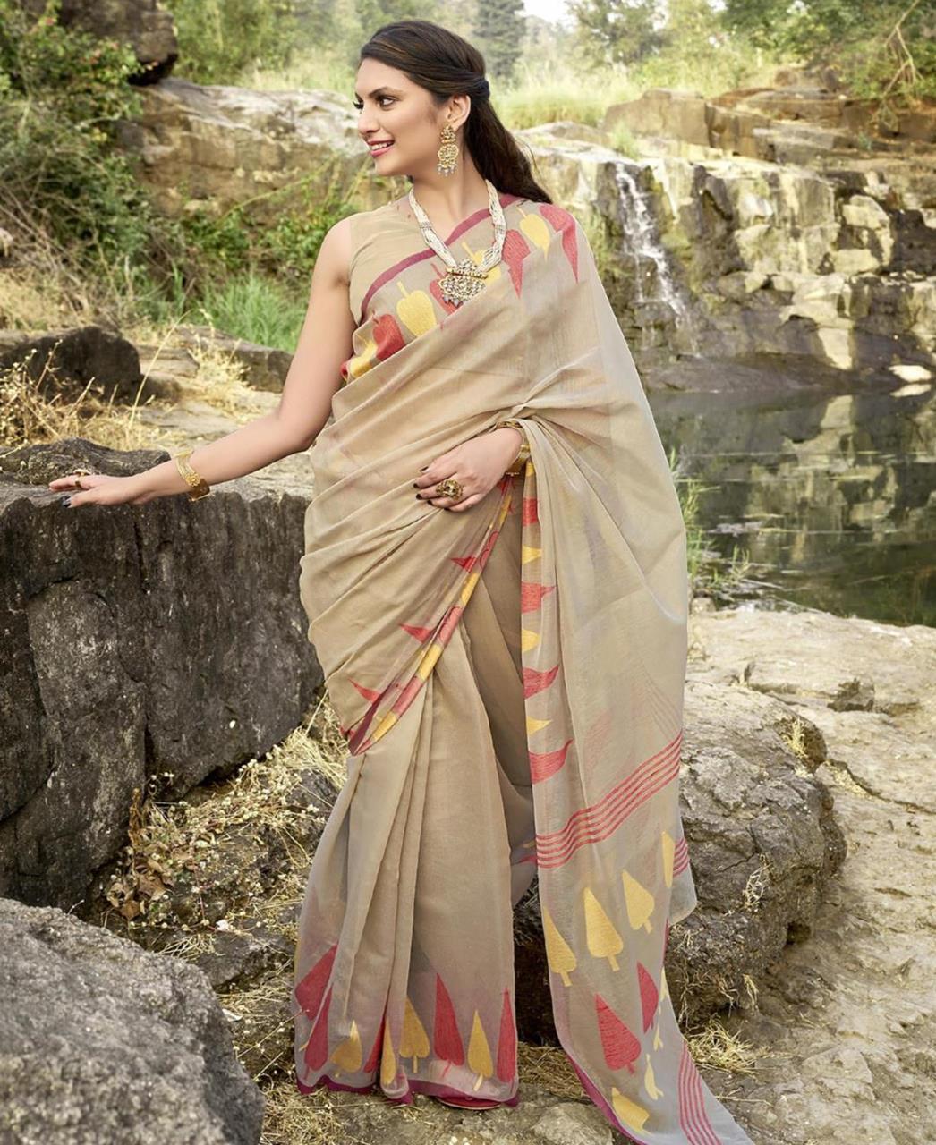 Cotton Saree in Beige