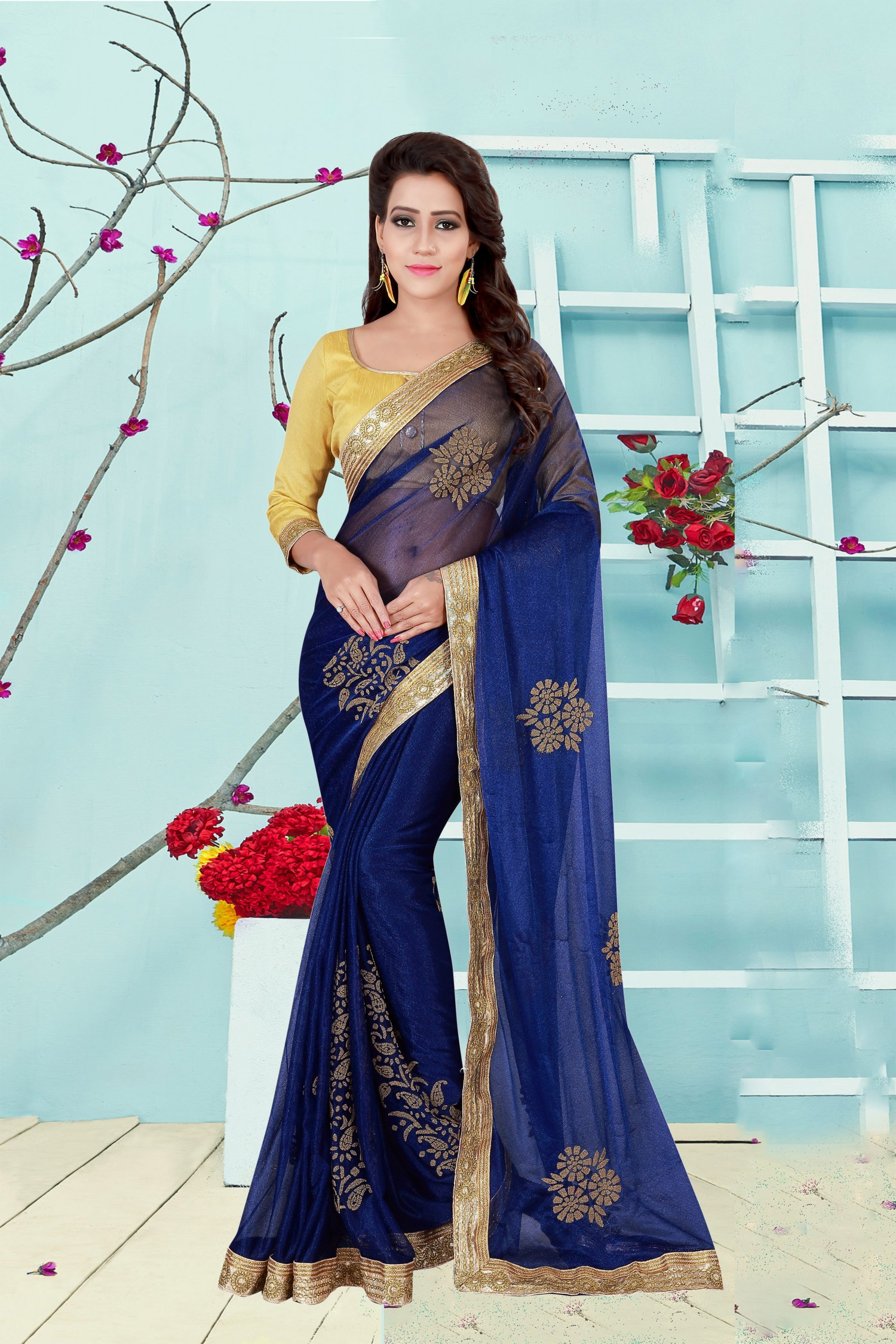 Embroidered Lycra Saree in Blue