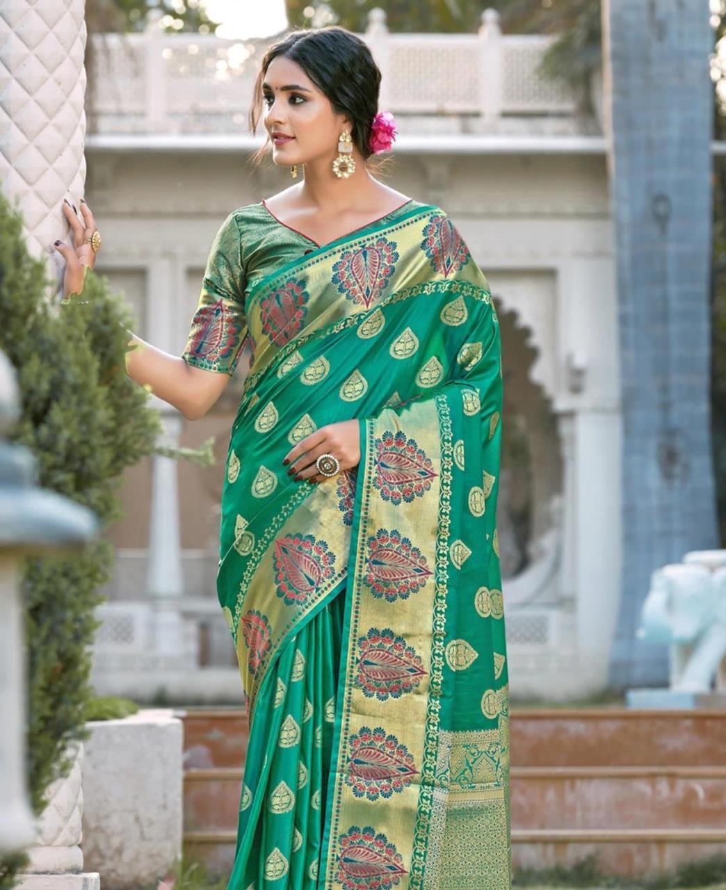 Silk Saree in Rama Green
