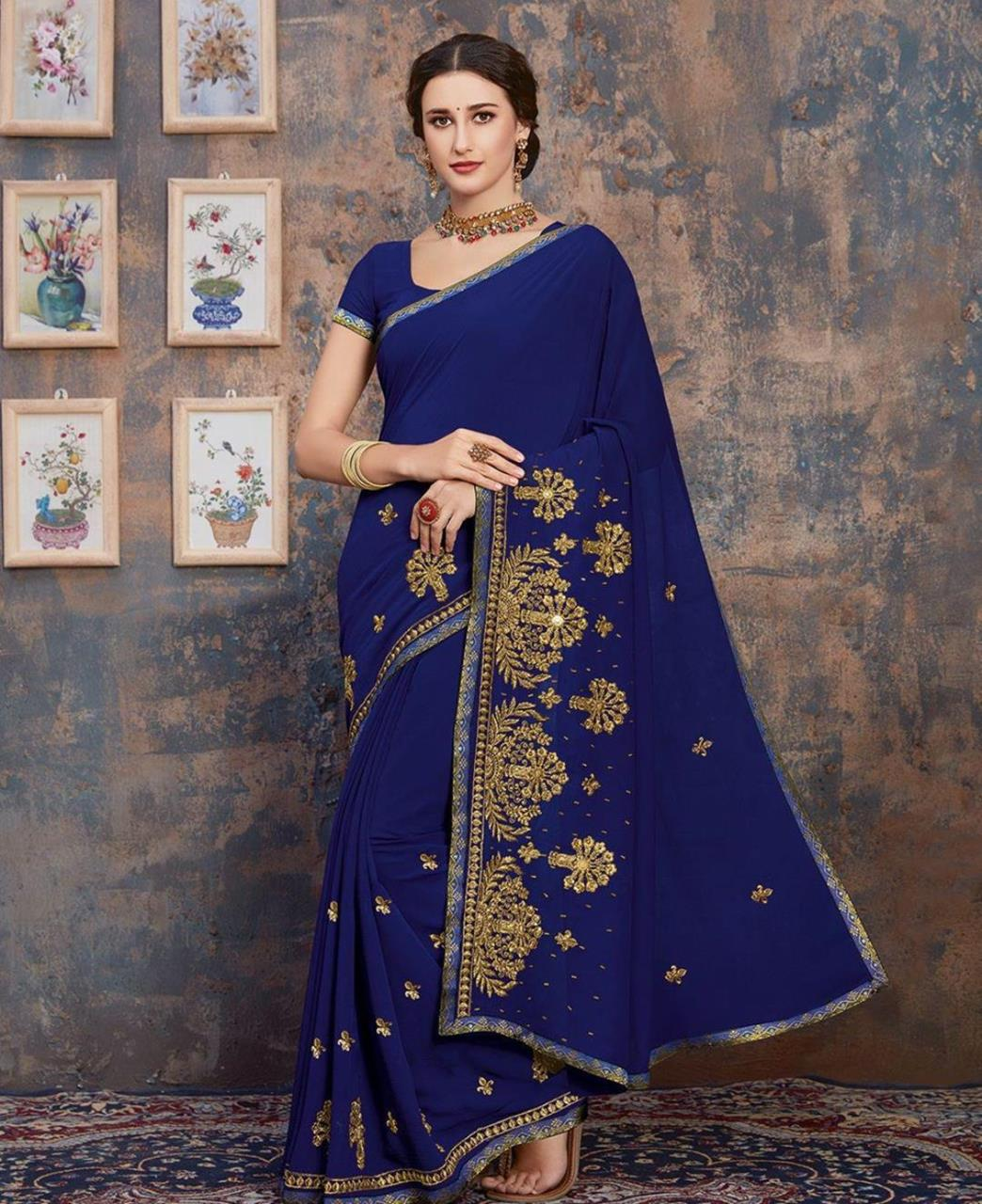 Stone Work Georgette Saree in Royal Blue