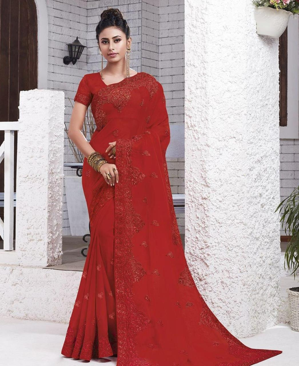 Resham Chiffon Saree in Red