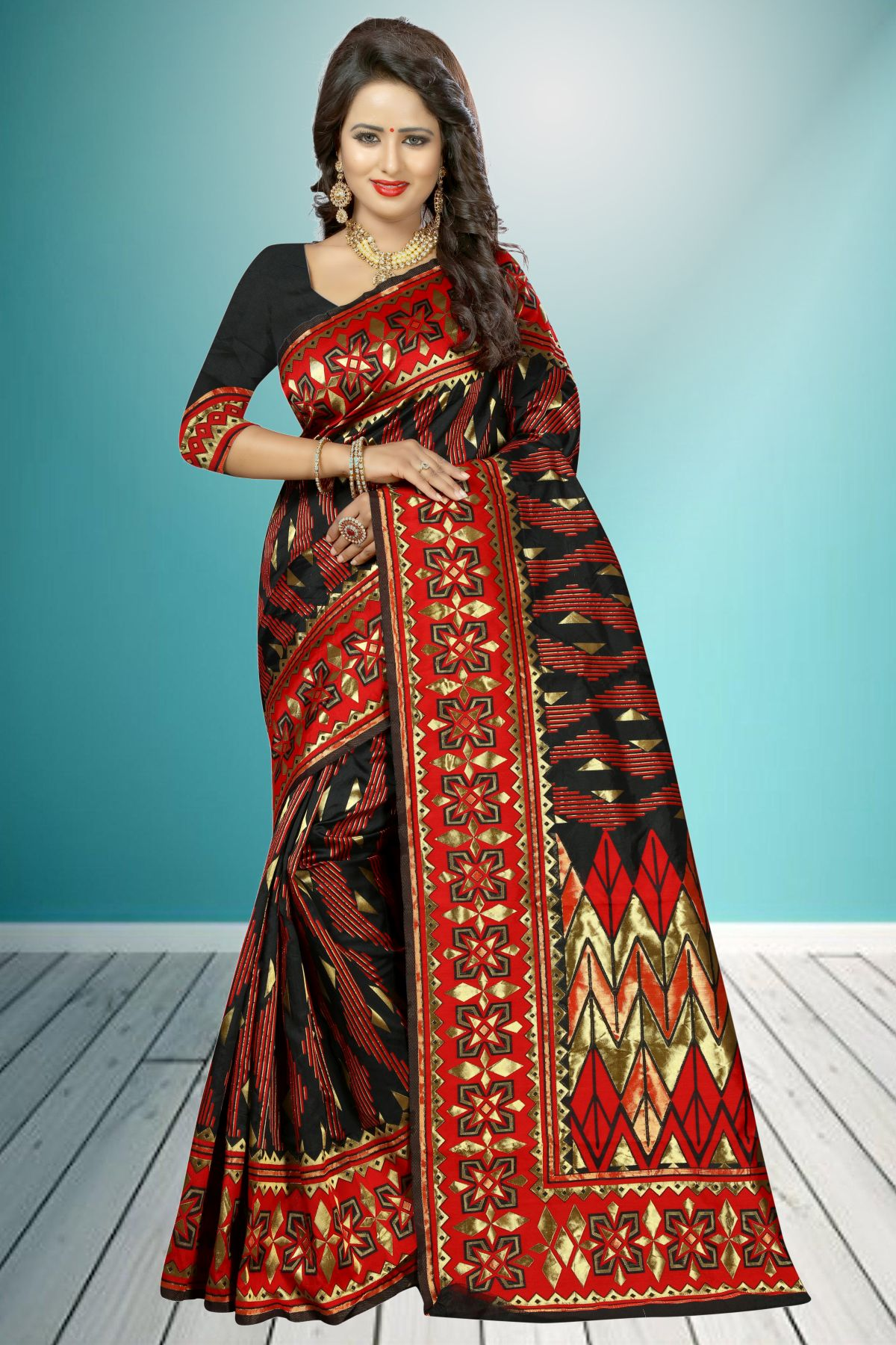 Jacquard Art Silk Saree in Black