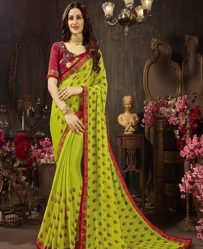 Embroidered Silk Saree (Sari) in OLIVE
