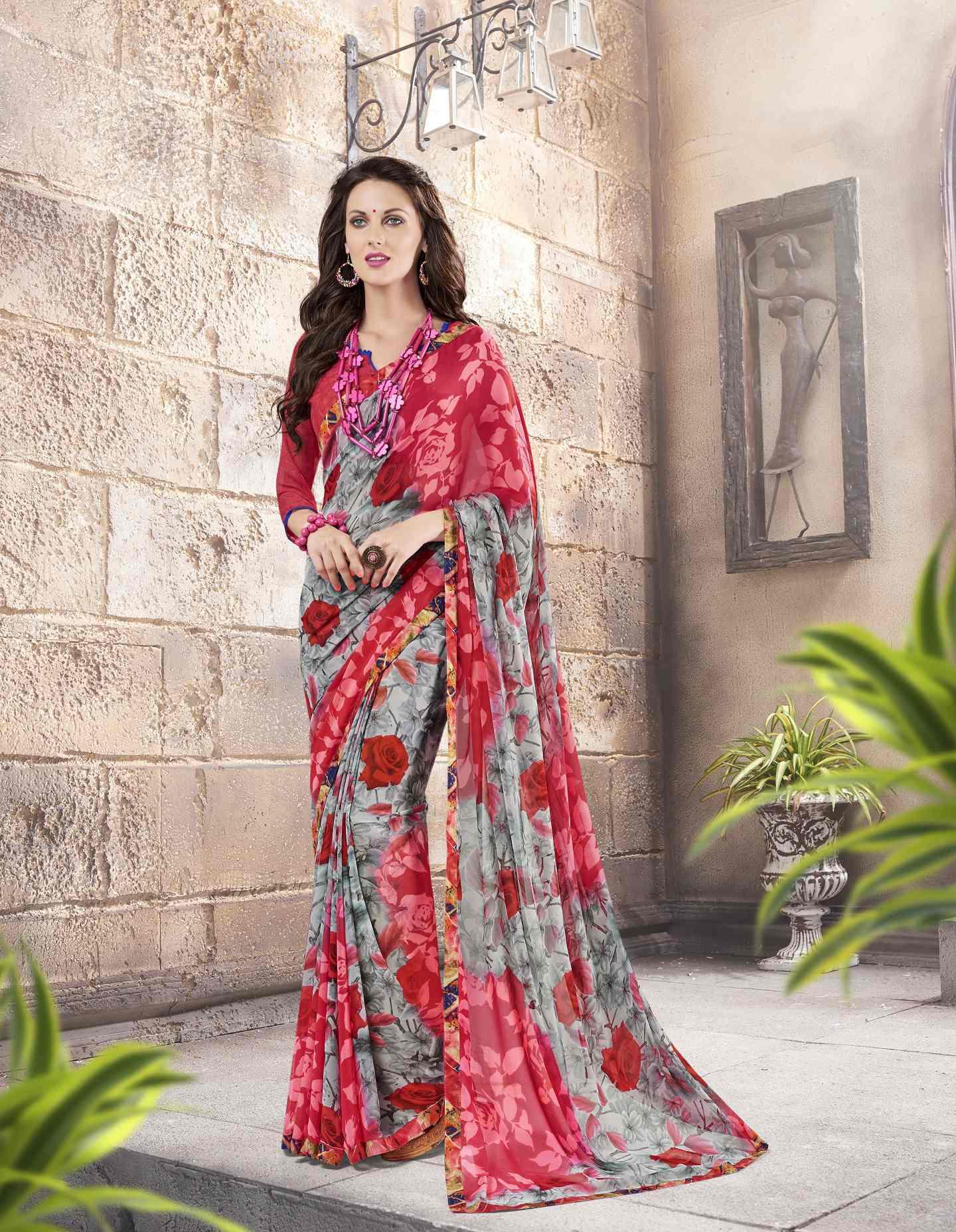 Printed Georgette Saree (sari) in Pink