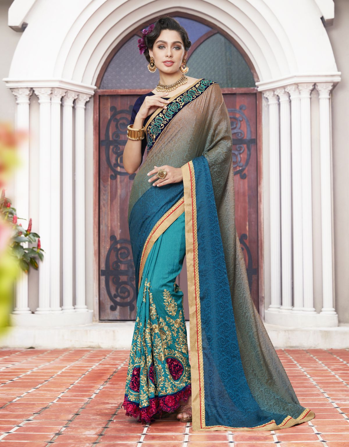 Embroidered Silk Saree in SKYBLUE
