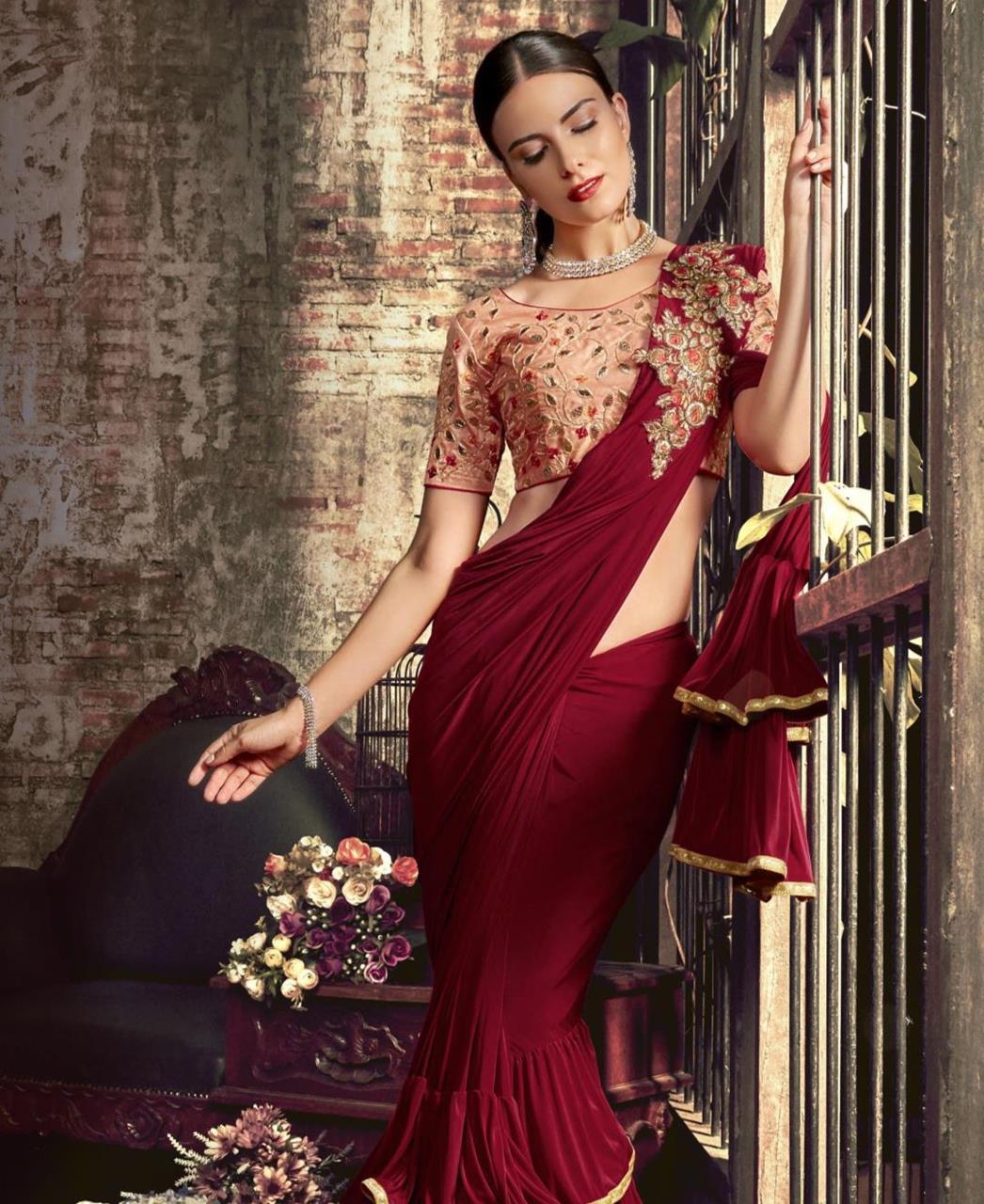 Plain Silk Saree (Sari) in Maroon