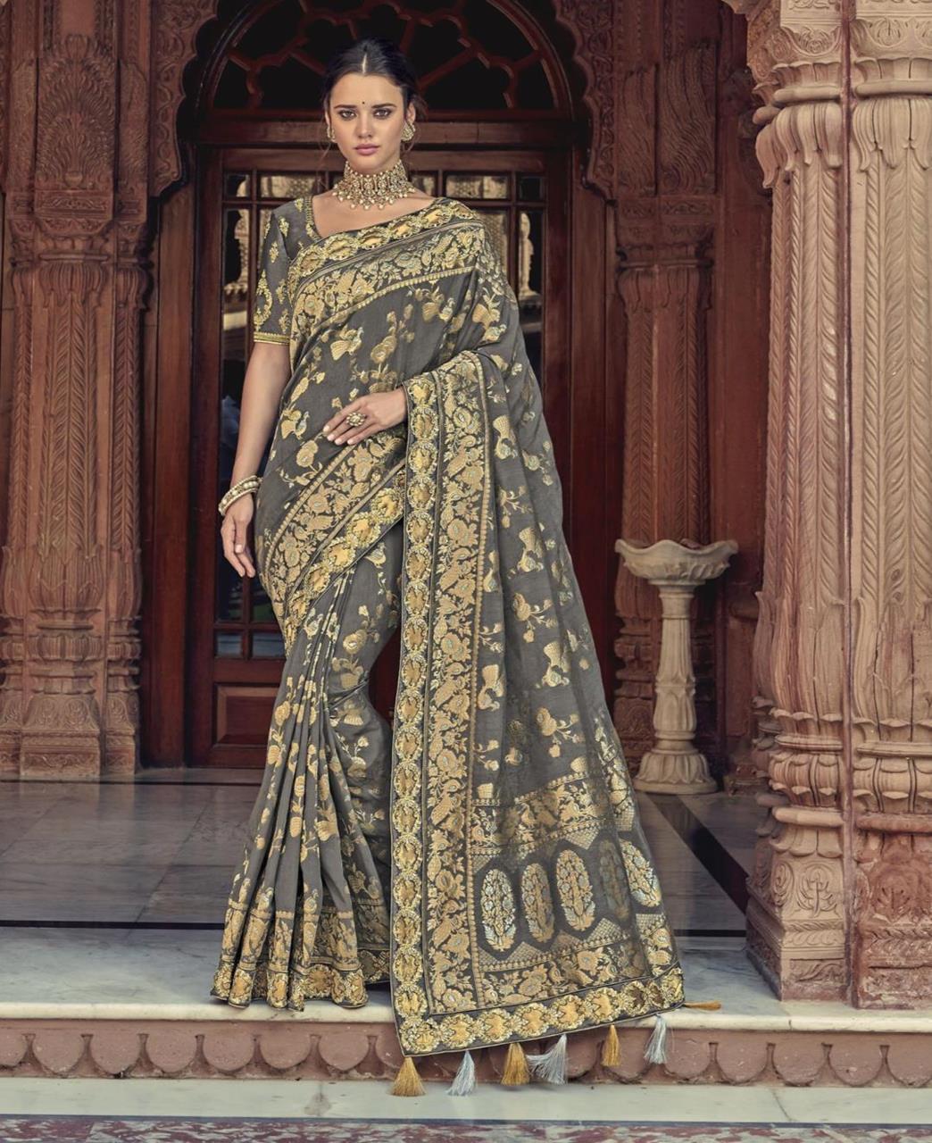 Woven Silk Saree in Gray