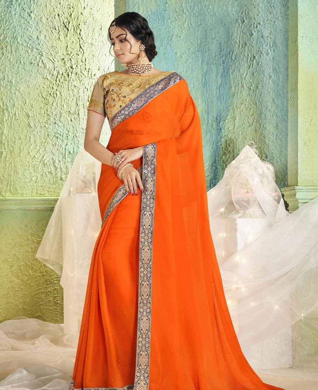 Border Work Chiffon Saree (Sari) in Orange