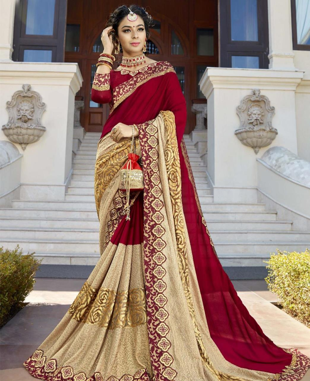 Plain Silk Saree in Maroon
