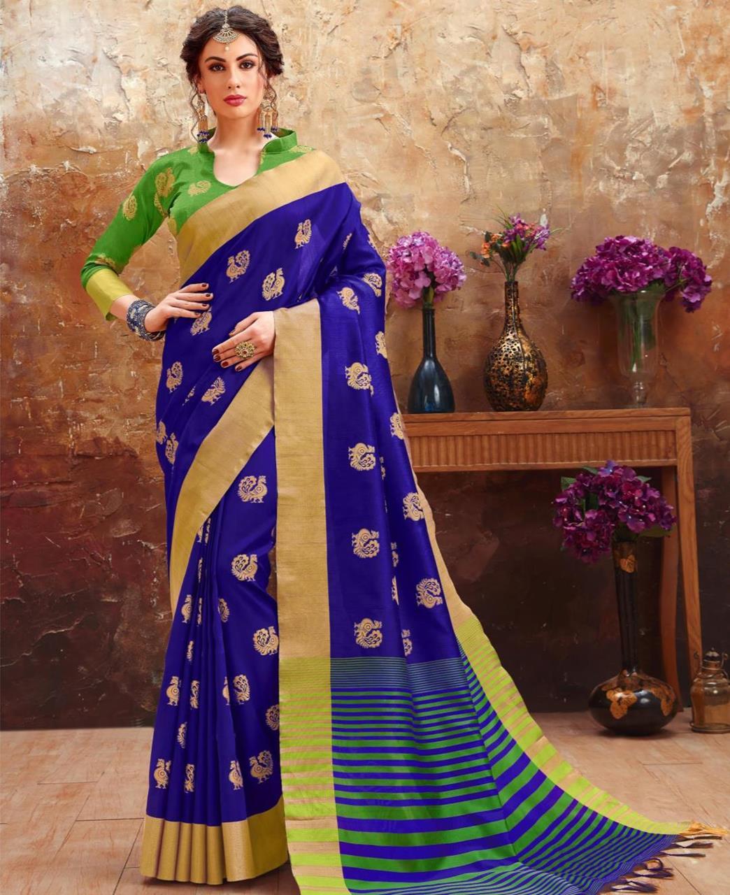 Printed Art Silk Saree (Sari) in Navyblue