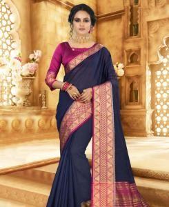Silk Saree in Navy Blue