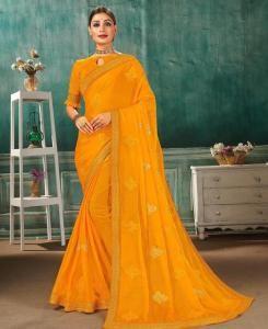 Resham Chiffon Saree in Yellow