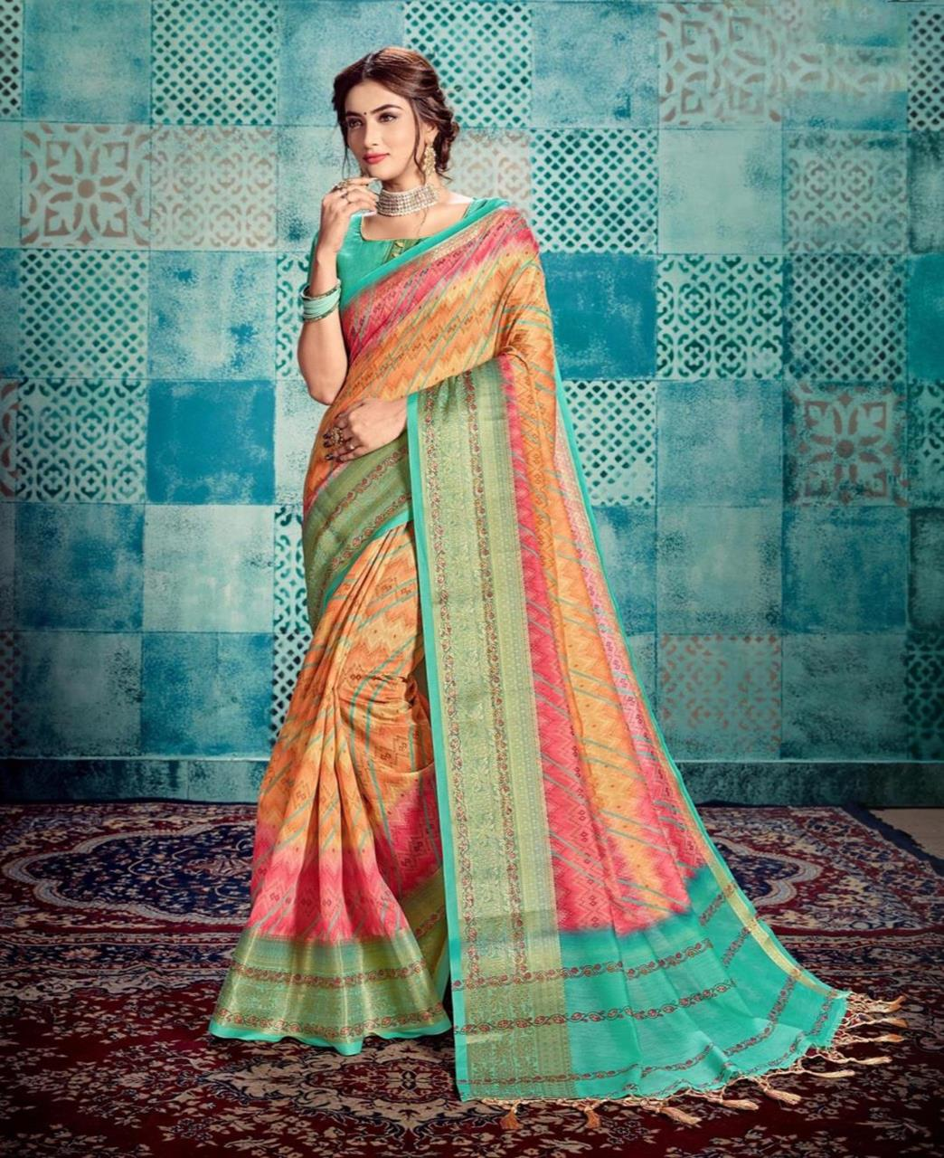 Printed Cotton Saree in Orange  ,  Green