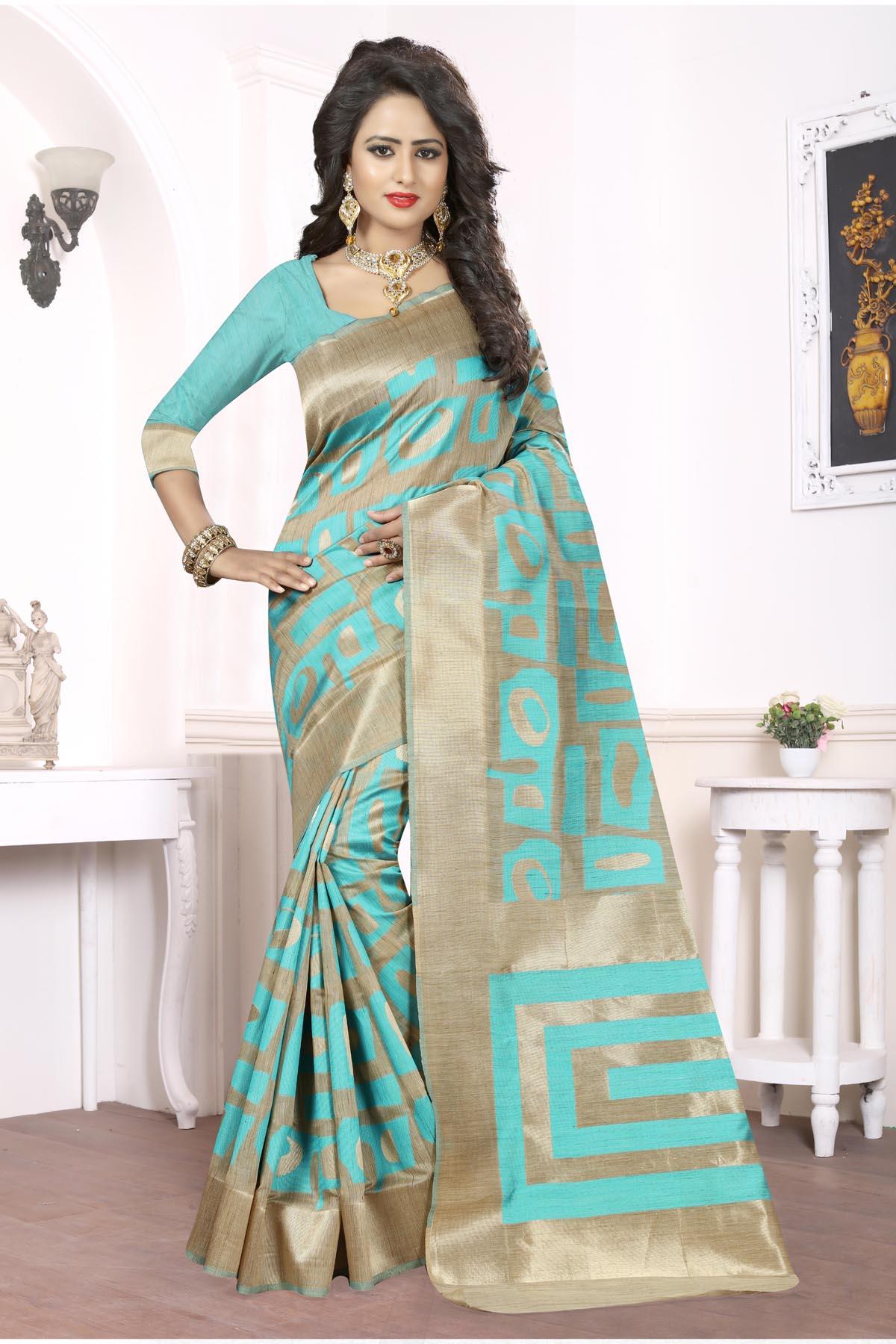 Printed Art Silk Saree (sari) in Aqua