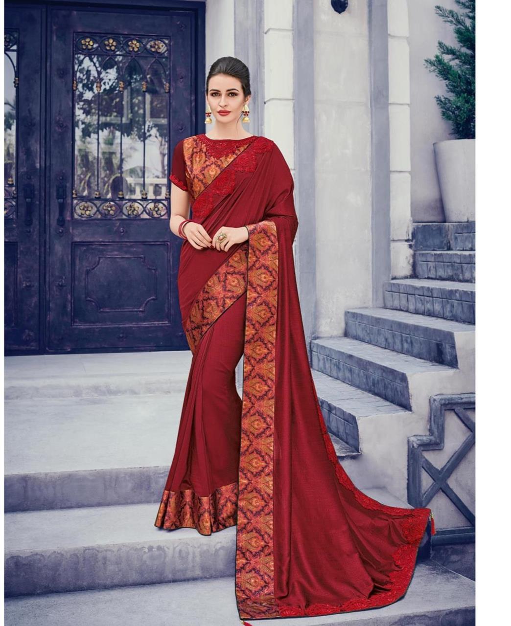 Embroidered Silk Saree (Sari) Maroon
