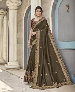 Stone Work Silk Saree in Mehendi