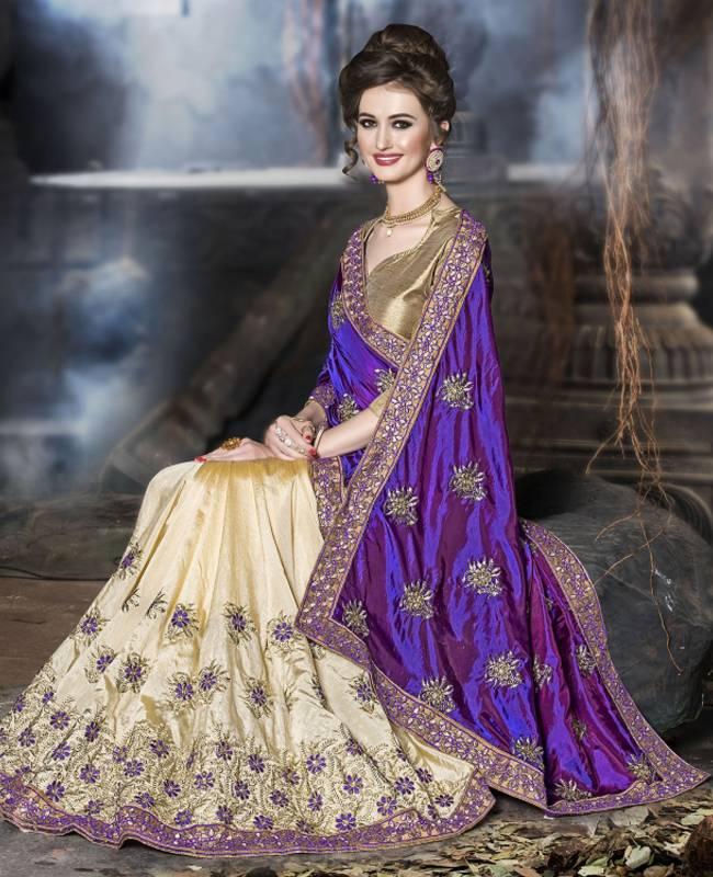 Embroidered Art Silk Saree (Sari) in Purple