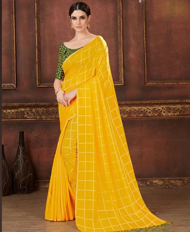 17711c0e19405e Printed Silk Saree(Sari) in Yellow