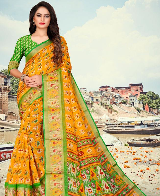 Cotton Saree in Yellow