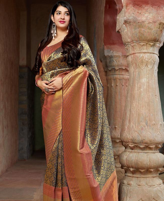 Woven Banarasi Silk Saree in Black