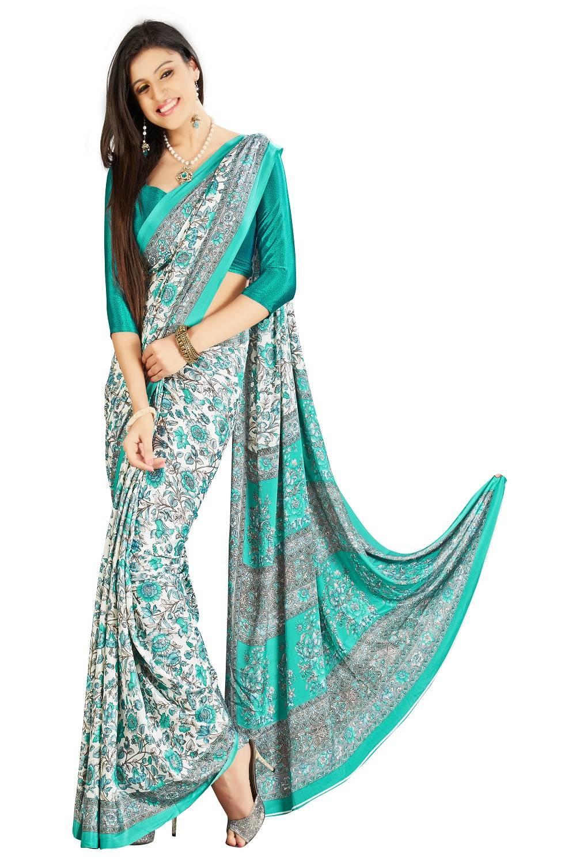 Printed Crape Saree (Sari) in White