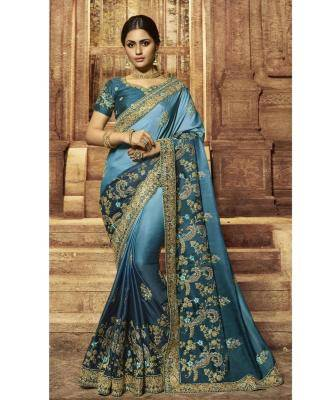 Embroidered  Satin Saree in Blue