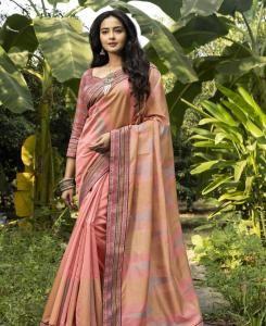 Lace Silk Saree in Peach