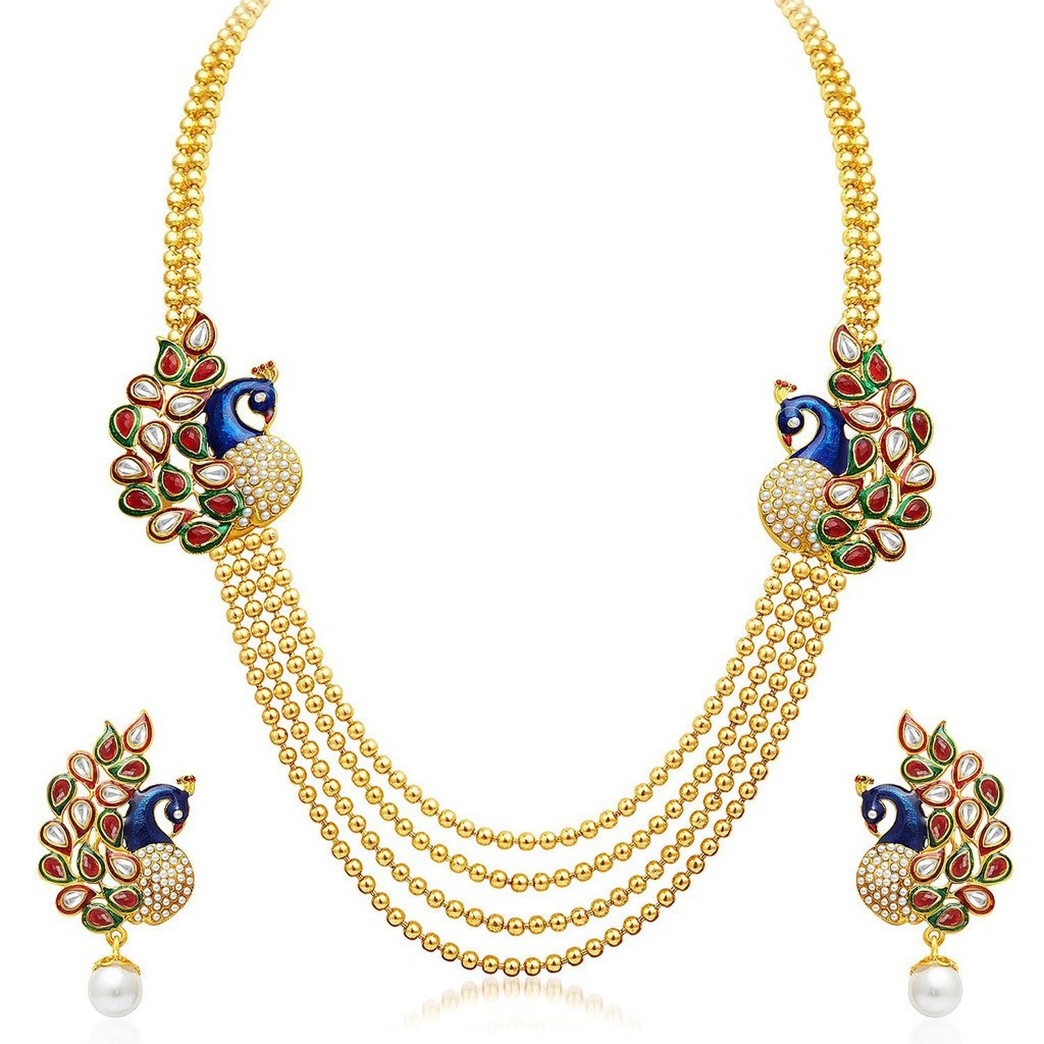 Jewellery Gold Plated Traditional Dancing Peacock Necklace Set ...