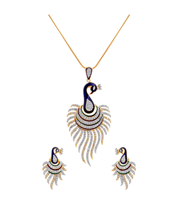 Cz designer peacock pendant set with chain indian jewelry roll over image to zoom in aloadofball Image collections