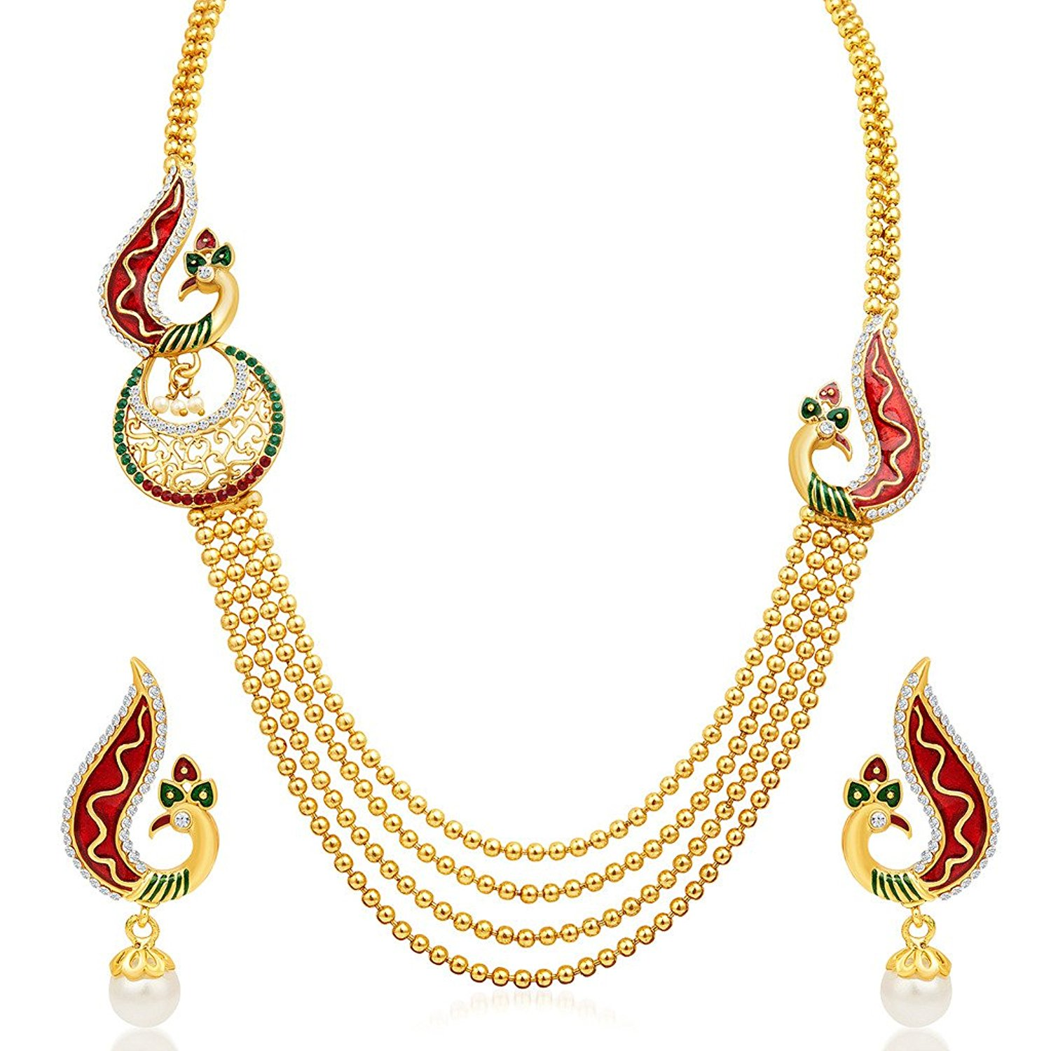 Roll over image to zoom in  sc 1 st  Pragathi.com & Jewellery Traditional Gold Plated Necklace Jewellery set with ...