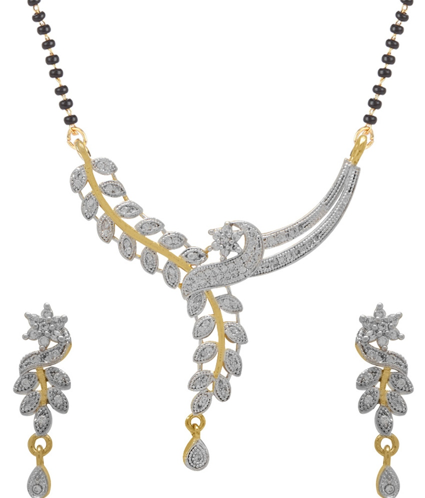 Womens pride american diamond gold plated mangalsutra pendant with roll over image to zoom in aloadofball Images