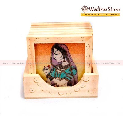 Wooden Gem Stone - Wooden box of 6 gem stone coasters return gift