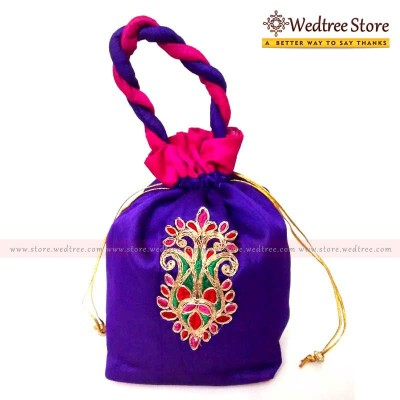 Potli Bag  - Potli bag with rich flower embroidered in middle return gift