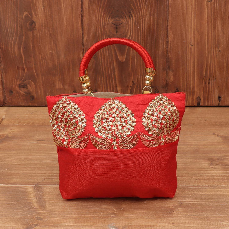 Hand bag raw silk with embroidery and chamki work return gift