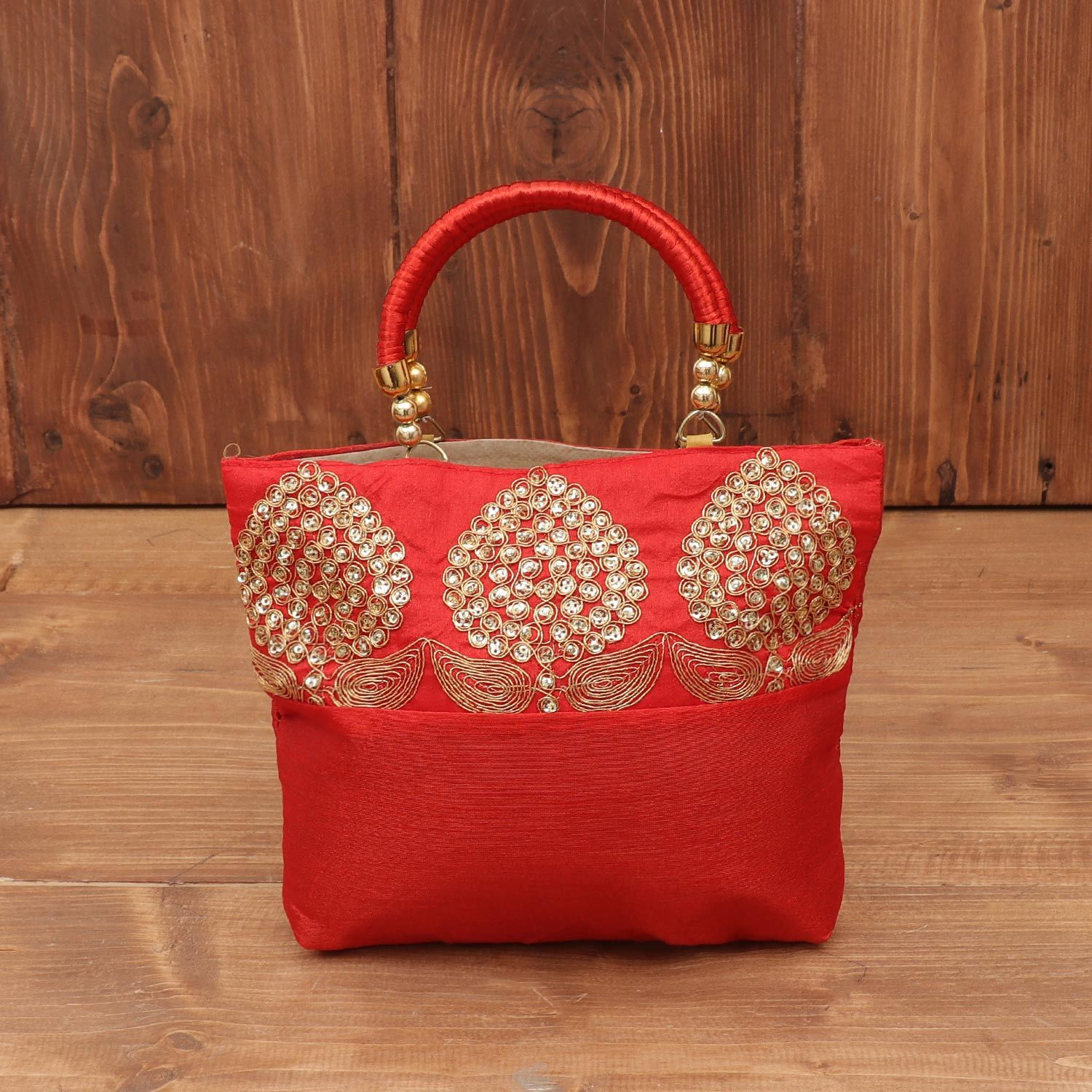 Hand bag raw silk with embroidery and chamki work return gift
