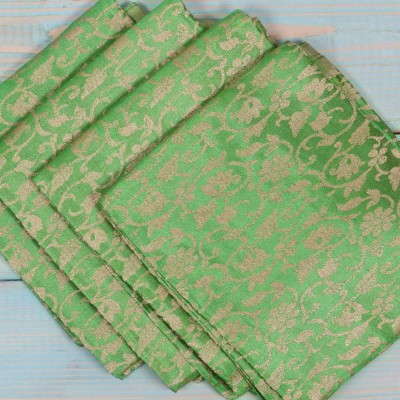 Brocade Blouse Bit - Brocade Blouse Bit Green Floral Design - Pack of 10