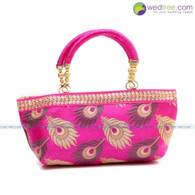 Hand Bag - Hand bag made of raw silk fabric with peacock feather design return gift