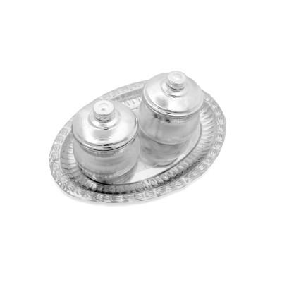 Dibbi set - Sliver plate and dibbi set  made of german silver return gift