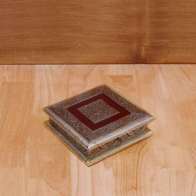 Dry Fruit box Square with german oxidised finish return gift
