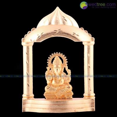 Ganesha Mandir - Ganesha made of zinc alloy with gold electro plating return gift