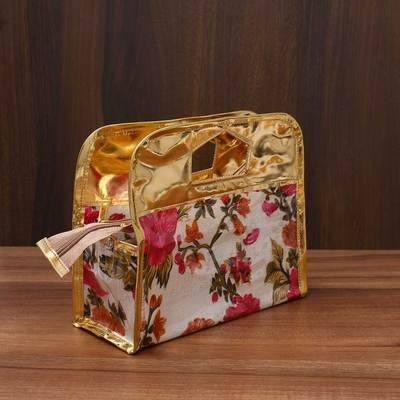 Vanity Pouch Floral Design with Handle 9 X 7 inch Indian return gift