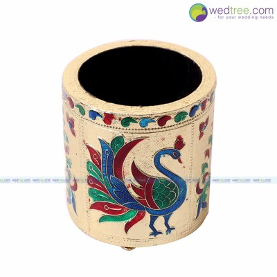 Pen Stand - Minakari pen stand made of wood with peacock design return gift