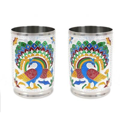 Silver Minakari Glass - Set of 2-W2926 return gift