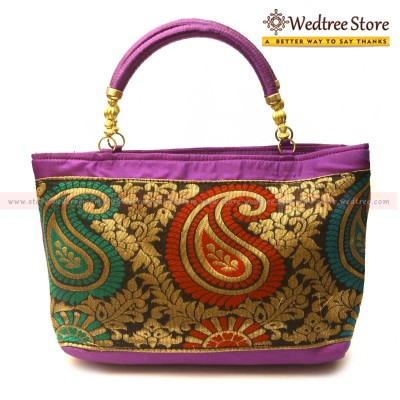 Hand Bag - Hand bag made of raw silk fabric with big mango design return gift
