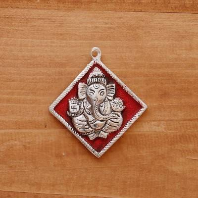 White metal pendant ganesha silver minakari small return gift
