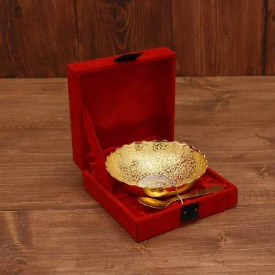 Silver & Gold Plated Bowl 4.5 inch with Spoon return gift