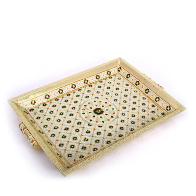 Tray with Handle - Minakari----is the art of coloring and ornamenting the surface of metals by fusing over it brilliant colors that are decorated in an intricate design.