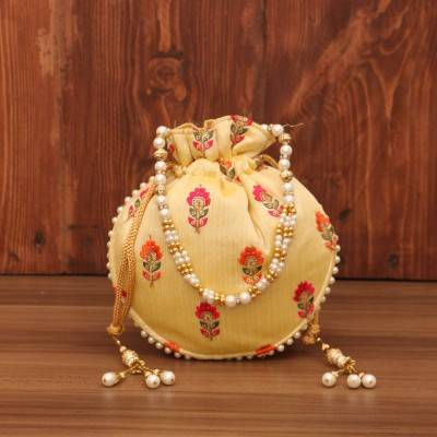 Designer Potli bag - flower embroidery with pearl handle return gift