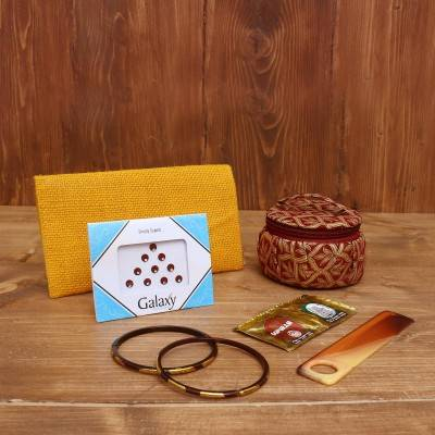 Gift Combo Jute Purse with Rectangle Minakari key hanger return gift
